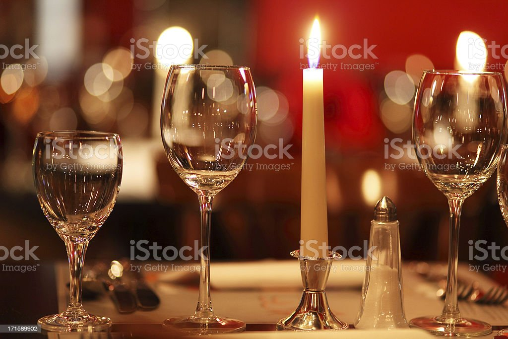 candlelight in gourmet restaurant (close up) stock photo