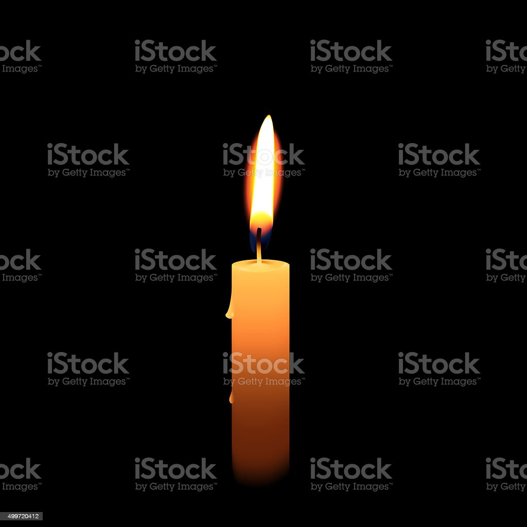 Candlelight, isolated on black background stock photo