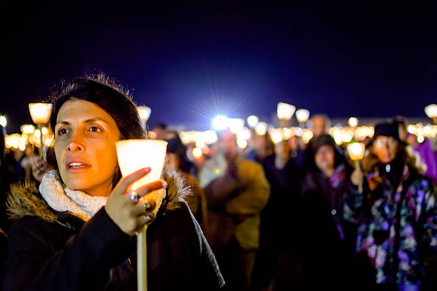 candlelight procession in the shrine of fatima stock photo