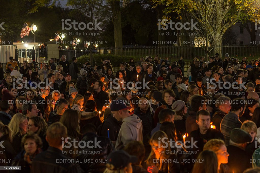 Candlelight Vigil for Paris stock photo