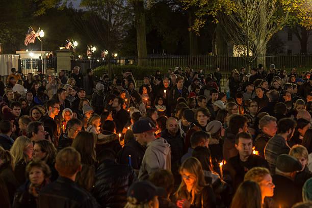 Candlelight Vigil for Paris stock photo