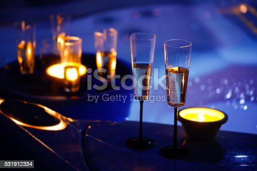 istock Candlelit champagne glasses beside a hot tub 531912334
