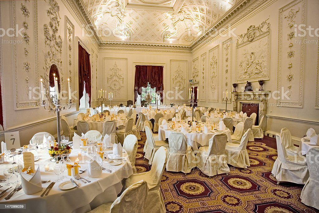 Candlelit Elegant Wedding Reception In Grand Hall Of Castle Stock
