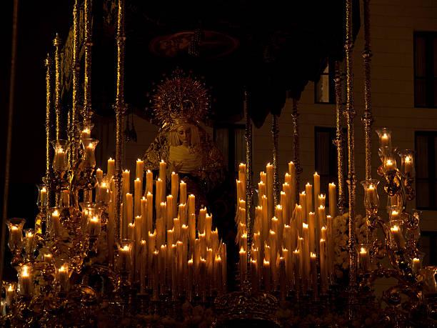 candlelit sculpture of the virgin mary - easter procession spain bildbanksfoton och bilder