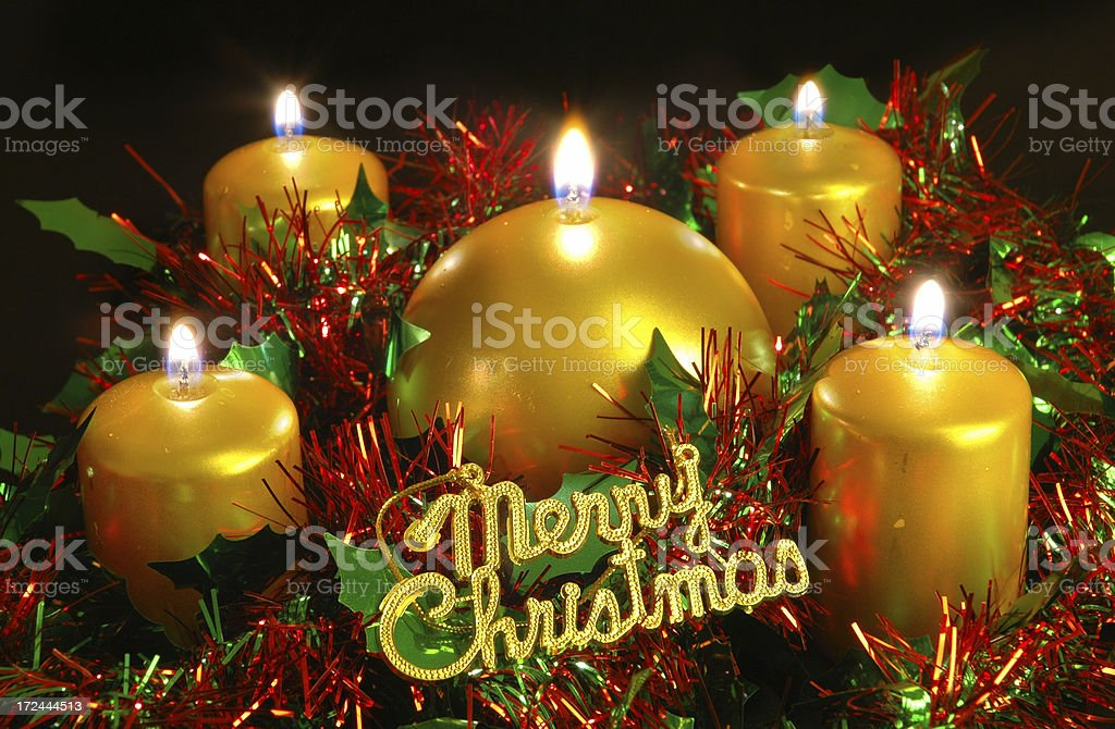 Candles and Christmas decoration royalty-free stock photo