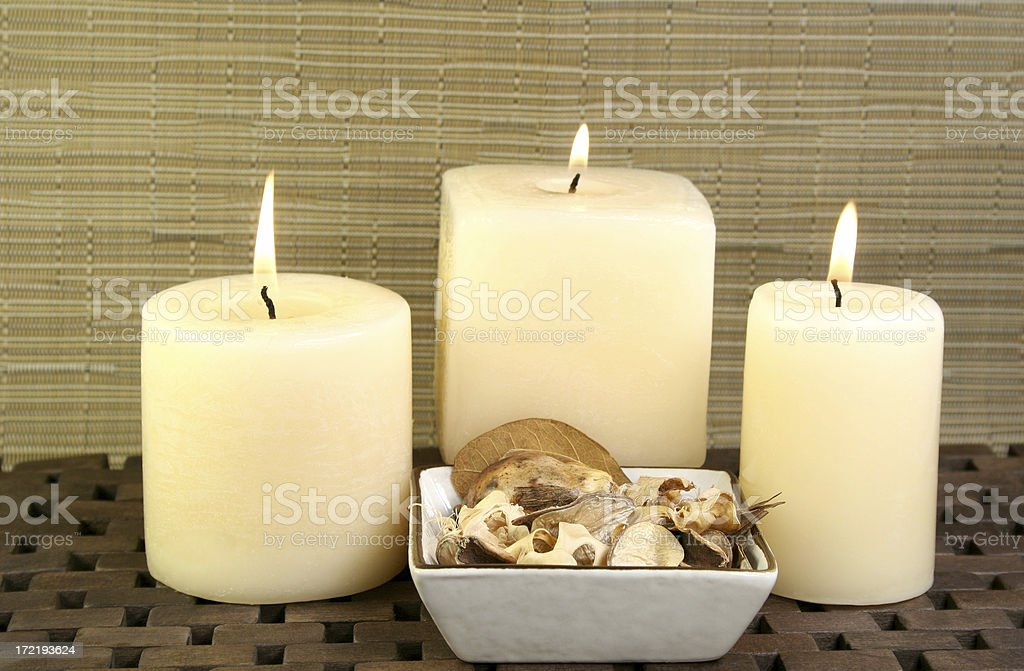 candles and dried flowers royalty-free stock photo