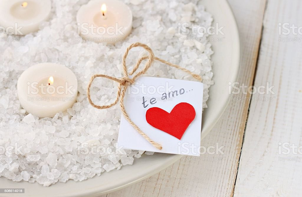Candles and love note stock photo