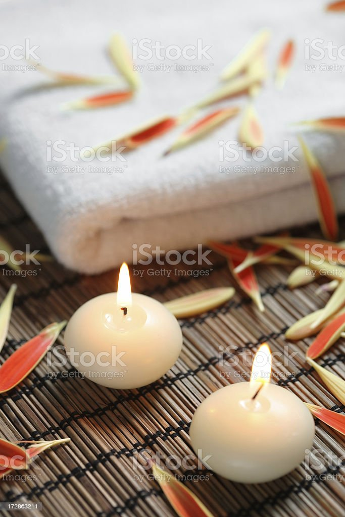 Candles and towel royalty-free stock photo