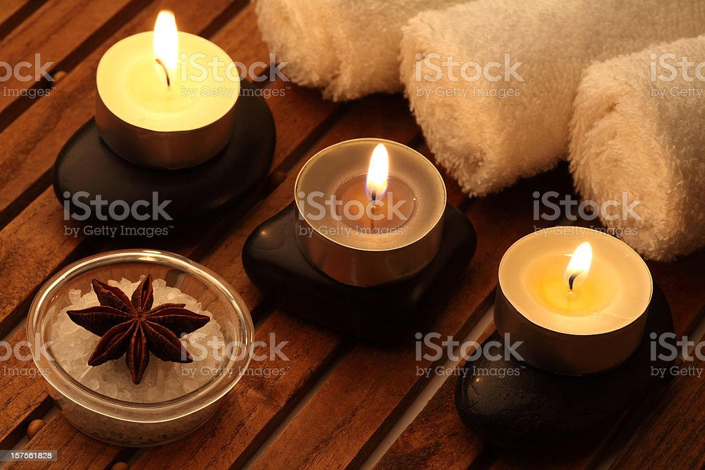 Candles and towels royalty-free stock photo