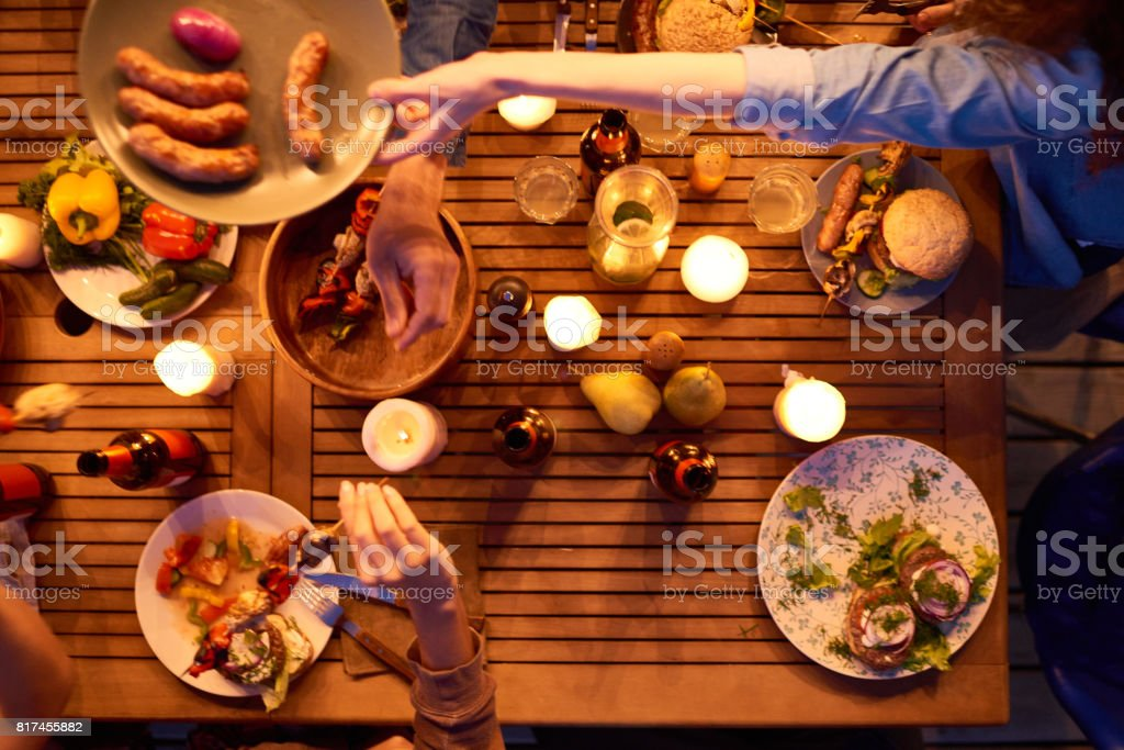 Candles as decoration for night party stock photo