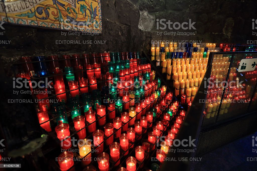 Candles at Montserrat monastery stock photo