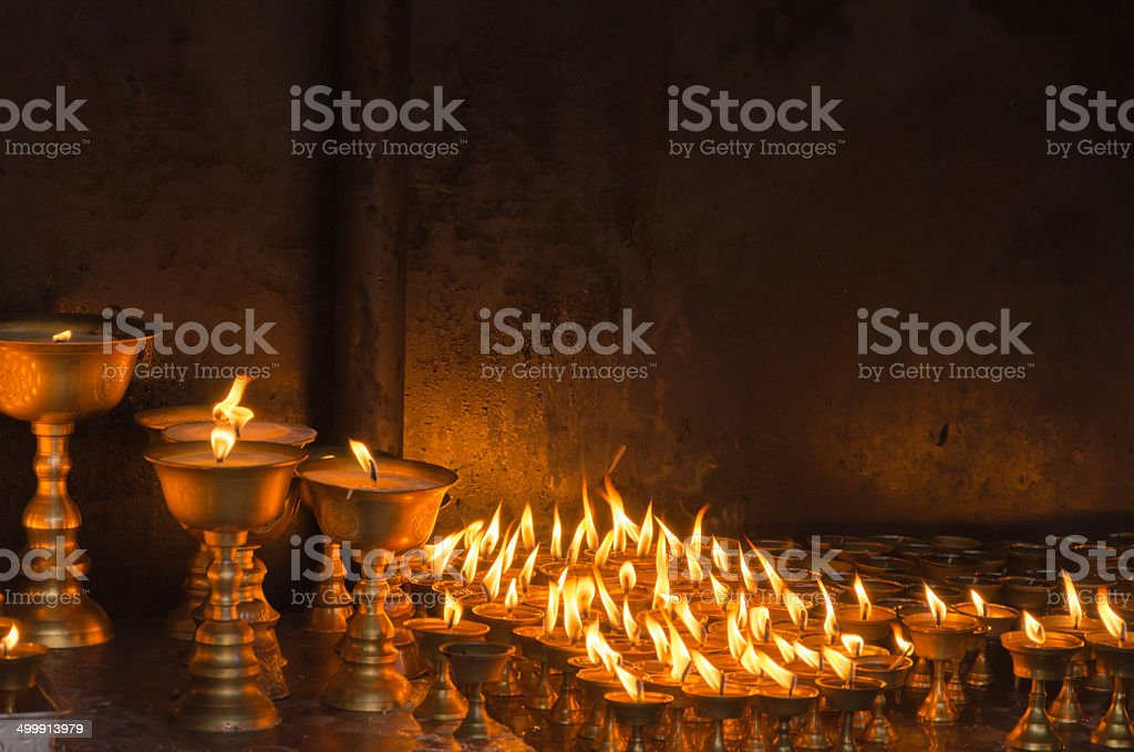 Candles at temple in Kathmandu stock photo