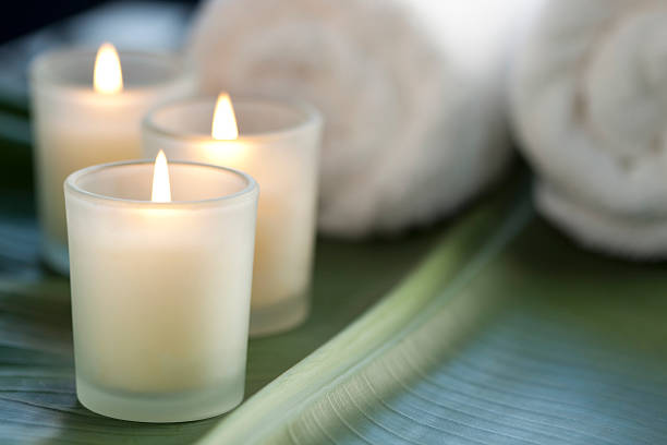candles at the spa - candle stock pictures, royalty-free photos & images