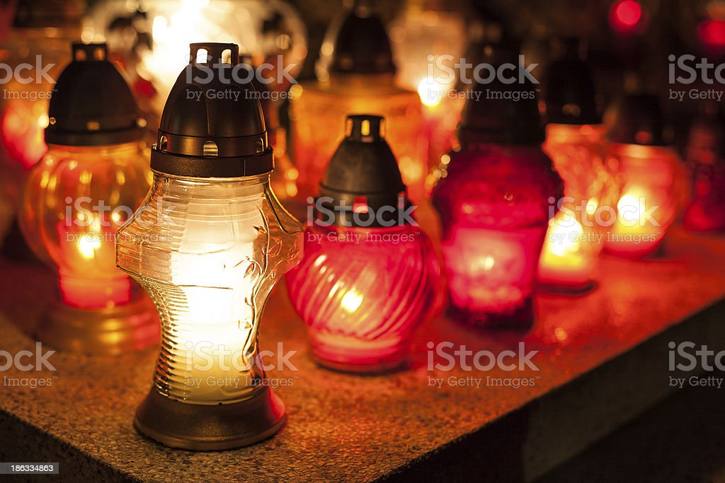 Candles Burning At a Cemetery. royalty-free stock photo