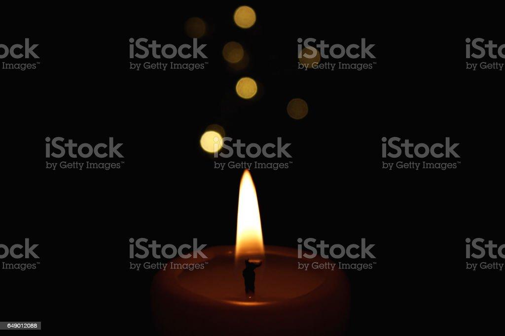 Candles Burning at Night. stock photo