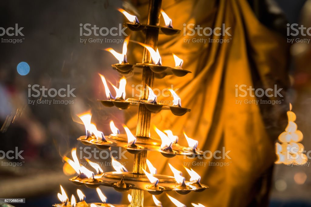 Candles fire puja stock photo