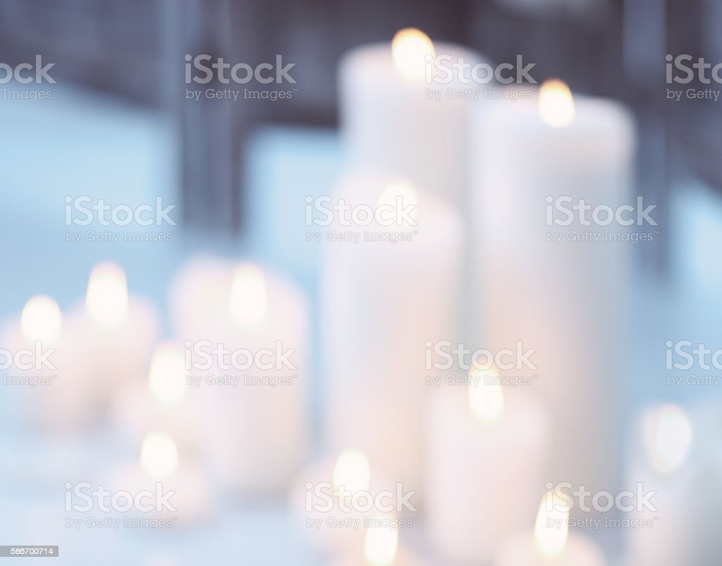 Candles flame with bokeh stock photo
