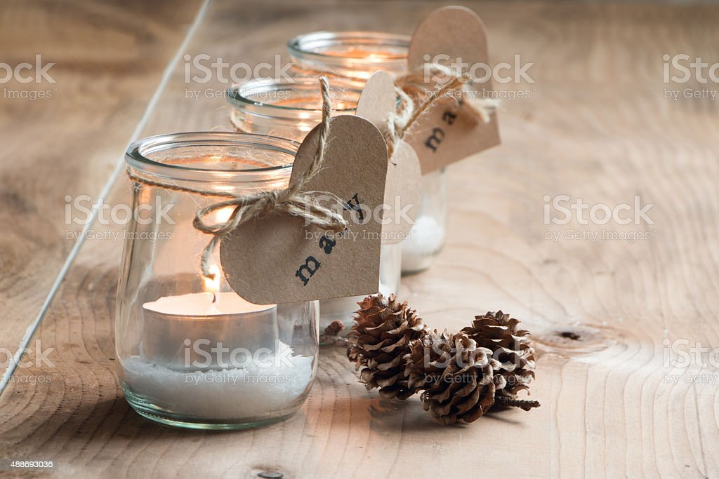 Candles for guests stock photo