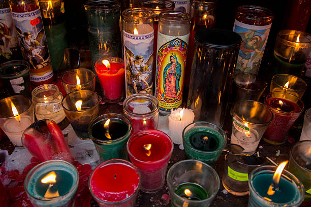 Candles for religious offerings stock photo