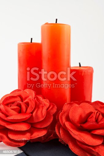 Candles for valentine's day, isolated on a white background