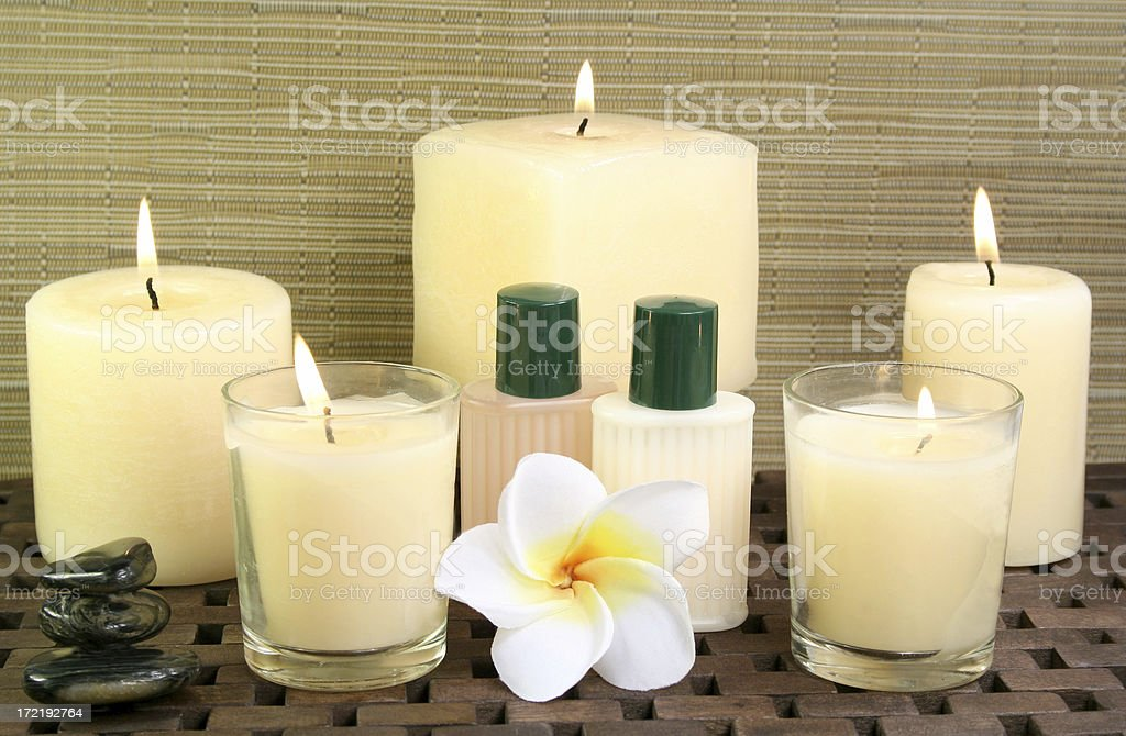 candles, gels and flower royalty-free stock photo