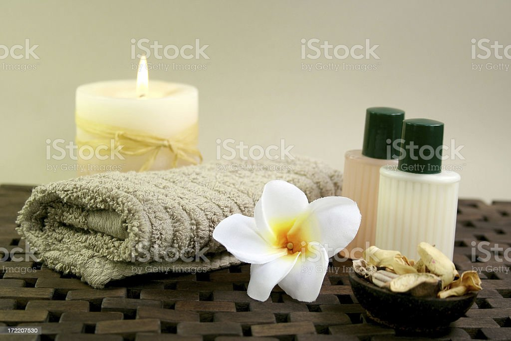 candles, gels, flowers and spa products royalty-free stock photo