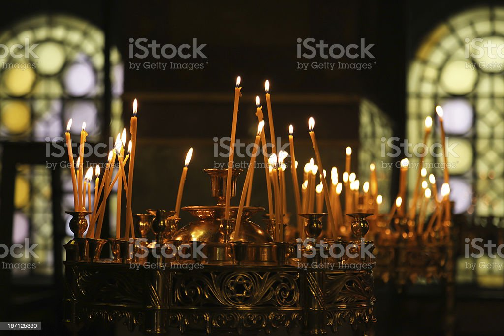 Candles in a orthodox church stock photo