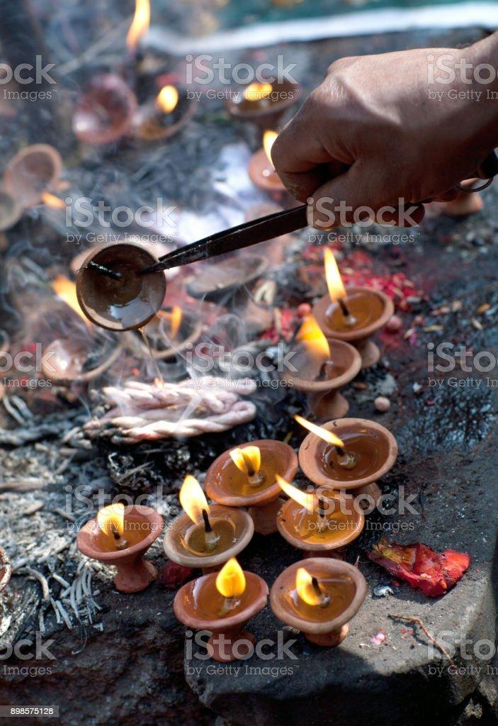 Candles in Dakshinkali Temple in Pharping, Nepal stock photo