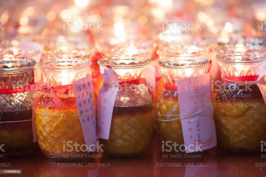 Candles in Kuan Yin Temple royalty-free stock photo