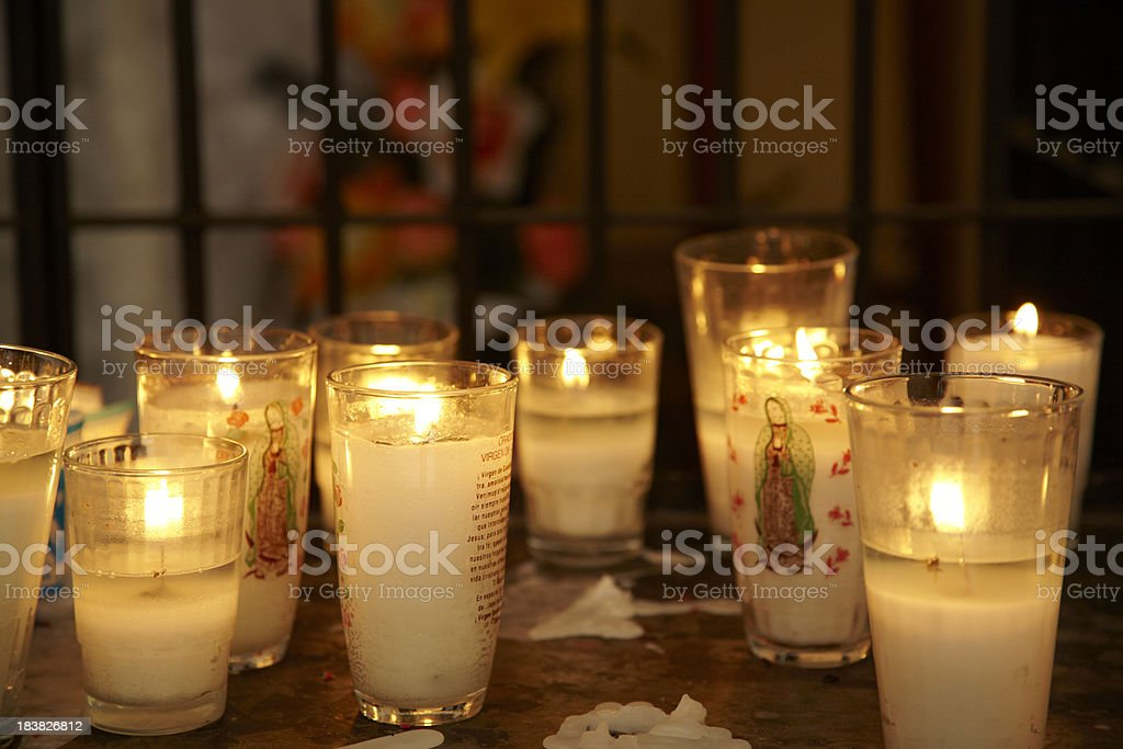 Candles in Mexican Cathedral, Worship, Mexico stock photo