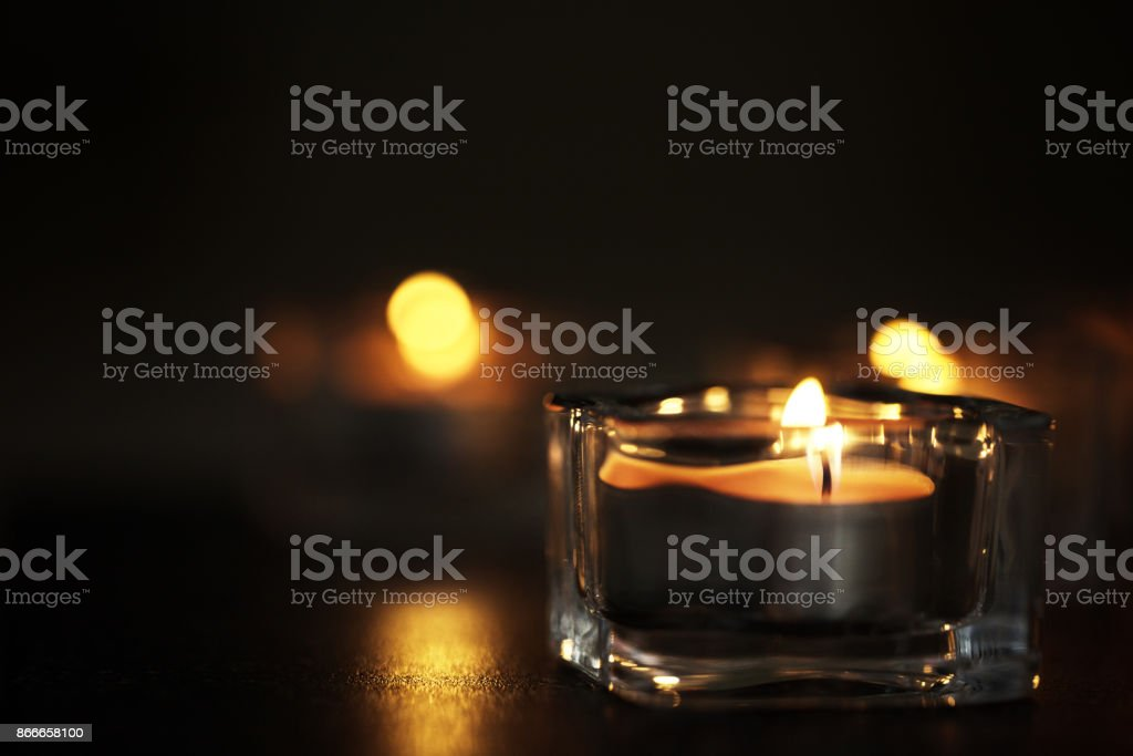 Candles in the night stock photo