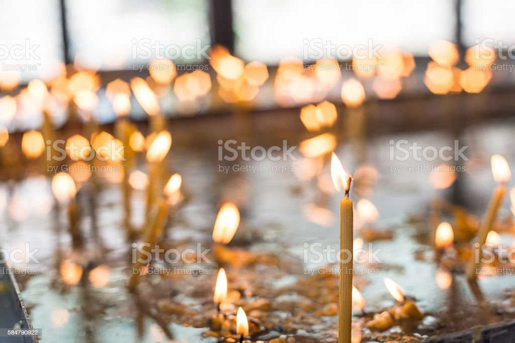 Candles in the orthodox Church stock photo