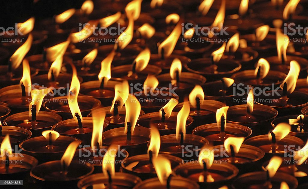 Candles in the tibetan monastery, Nepal. royalty-free stock photo