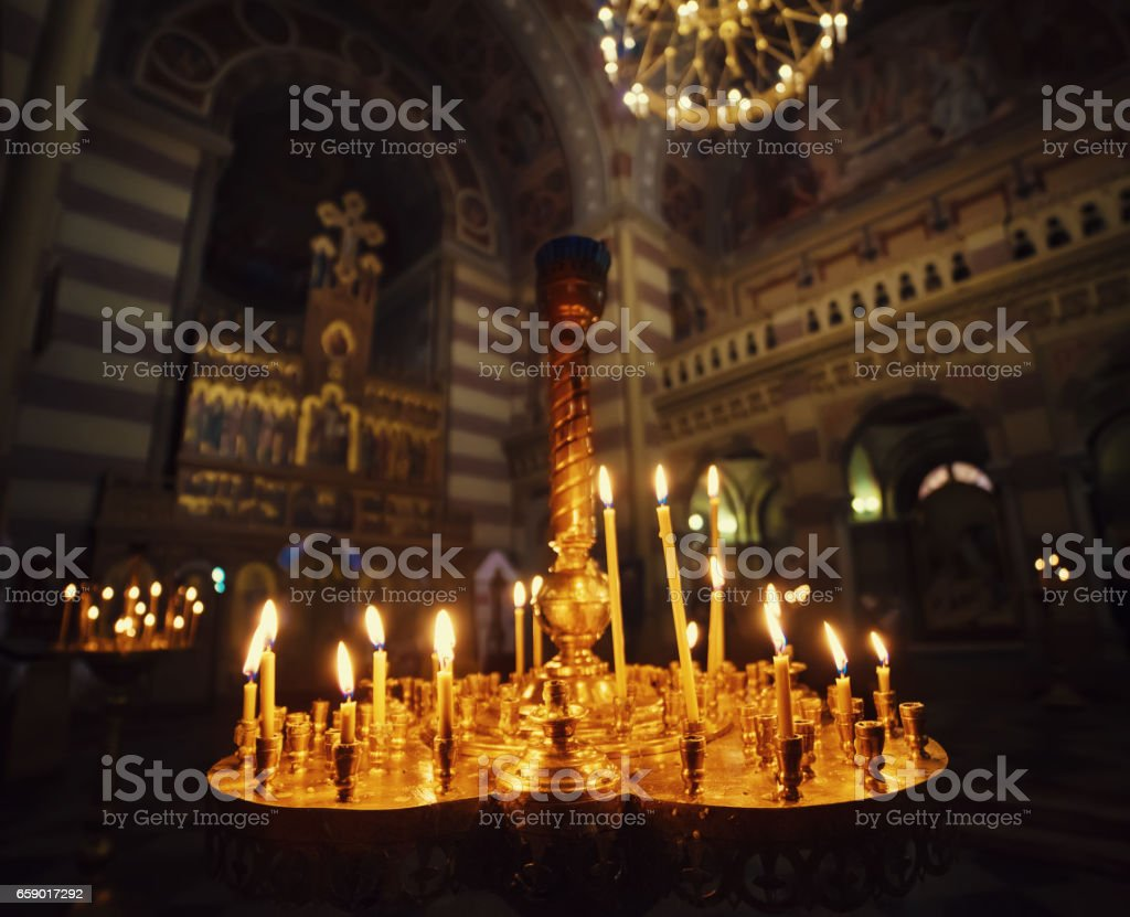 Candles int church royalty-free stock photo