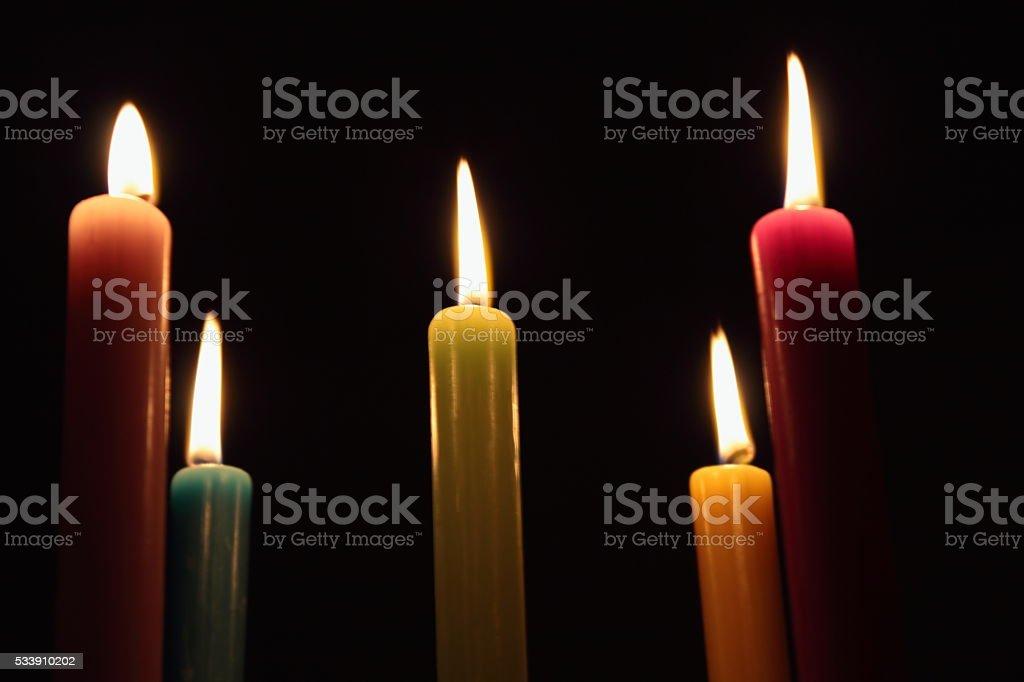candles. light. black background. stock photo