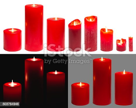 Candles Light, Set of Red Candles Lights, on White Black Grey Background with clipping path