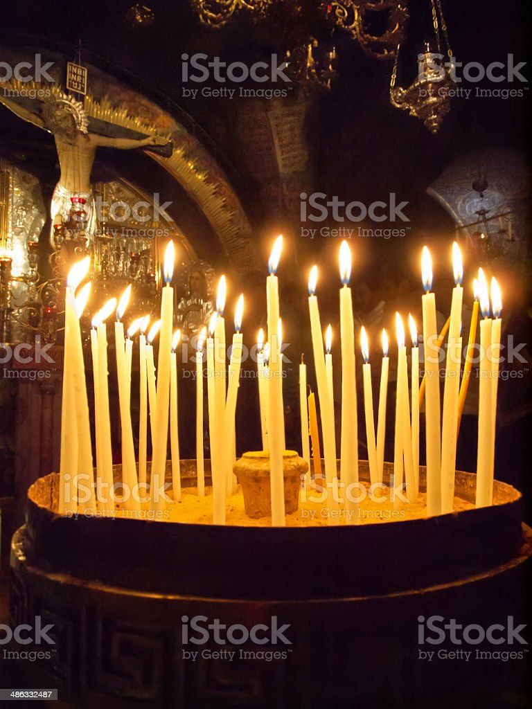 candles located before calvary. Jerusalem stock photo