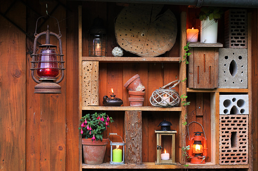Candles, oil lamps and lanterns in the evening