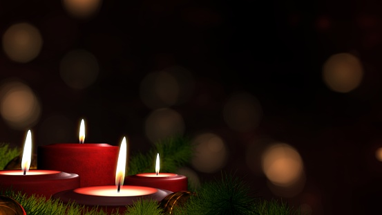 Romantic festive Christmas holiday evening. Four lit red candles on indoor Advent wreath. Romantic festive candlelight with tranquil bokeh lights and dark copy space. 3D illustration Xmas background.