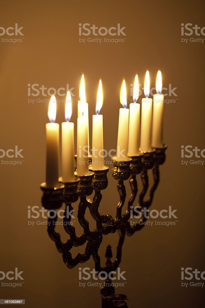 candles on hanukkah menorah royalty-free stock photo