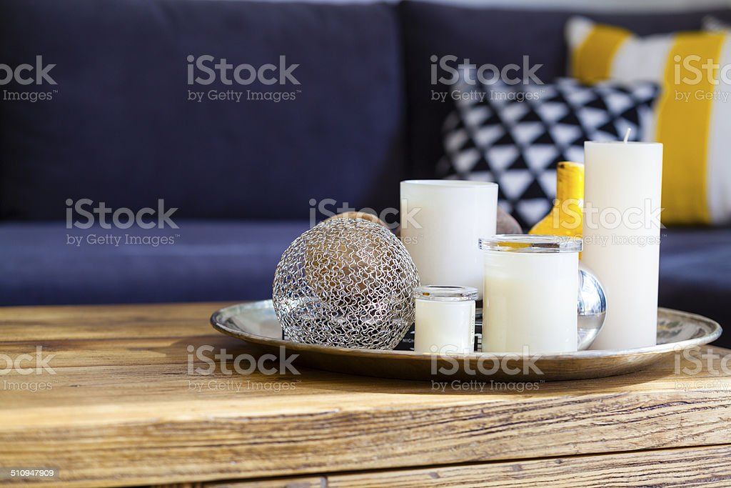 Candles on table stock photo