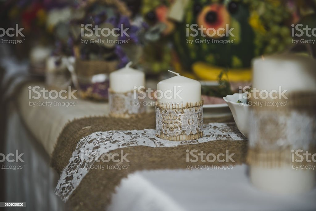 Candles on the holiday table 5015. royalty-free stock photo