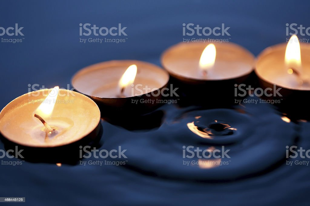 Candles On Water stock photo