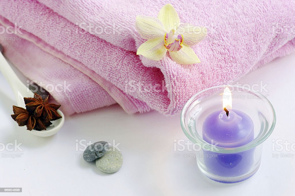 candles orchids towels royalty-free stock photo