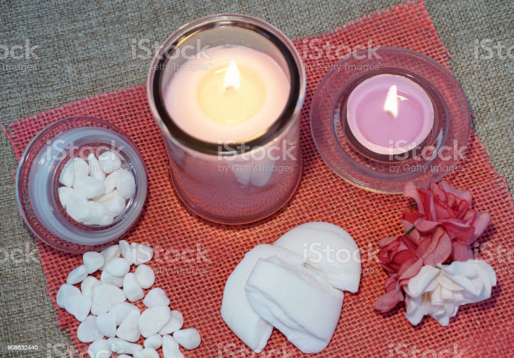 Candles, perfumed soap and other spa products stock photo