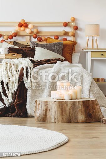 istock Candles standing on tree trunk 871281078