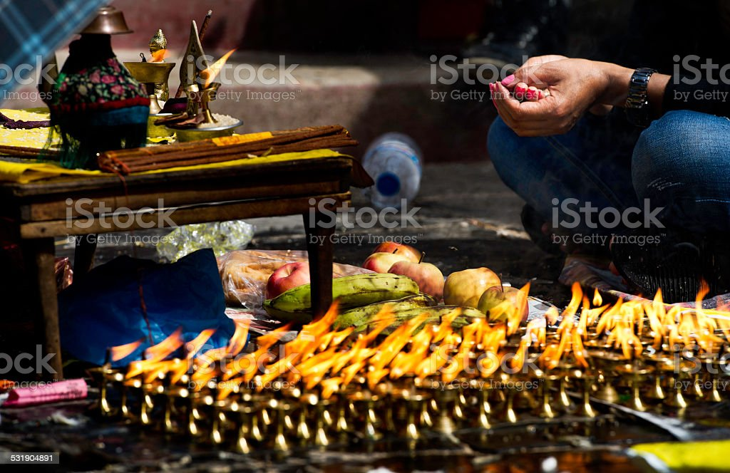 Candles temple in Kathmandu, Nepal stock photo