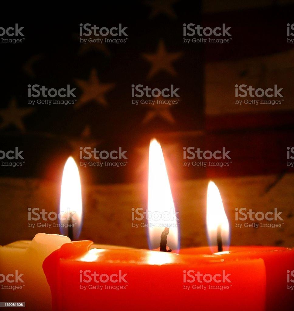 3 Candles w/ USA Flag stock photo