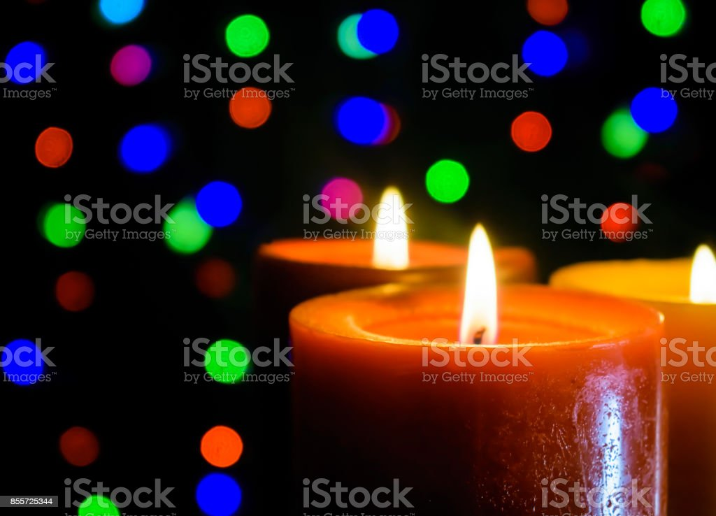 Candles with Bokeh Background stock photo