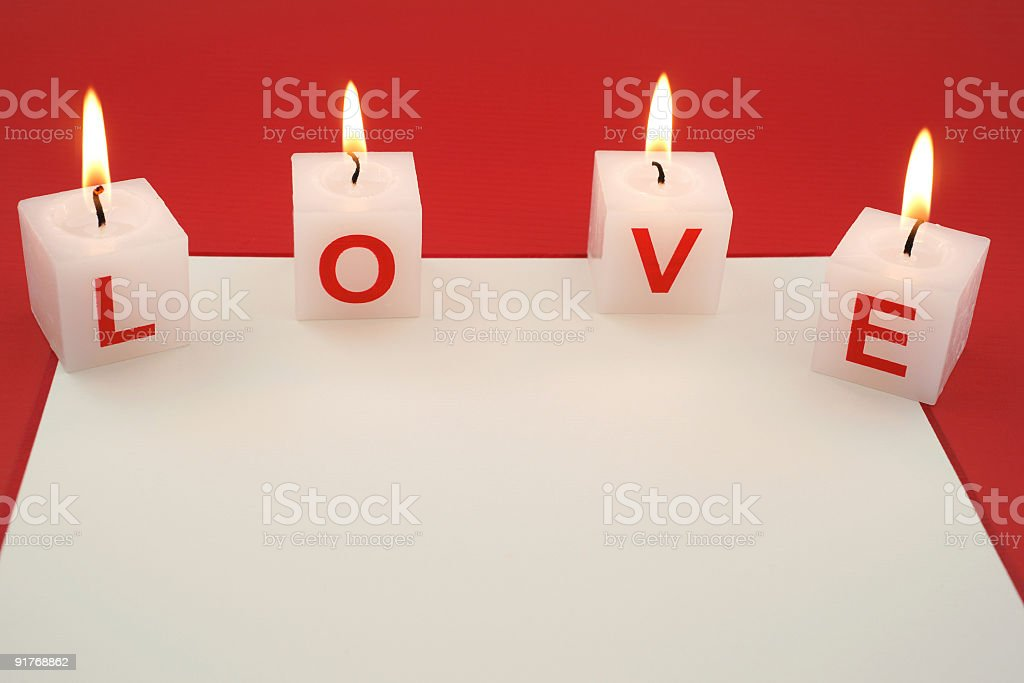 Love Candles With Card Stock Photo - Download Image Now - iStock